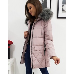 Ružová dámska dlhá bunda na zimu s kapucňou a bohatou kožušinou