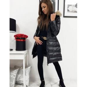 Luxusná dámska dlhá čierna prešívaná bunda s kapucňou a kožušinou