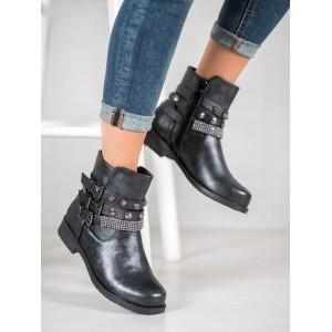 Členková obuv s ozdobnými prackami tmavo sivej farby