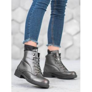Klasická dámska členková obuv so šnúrkami sivej farby