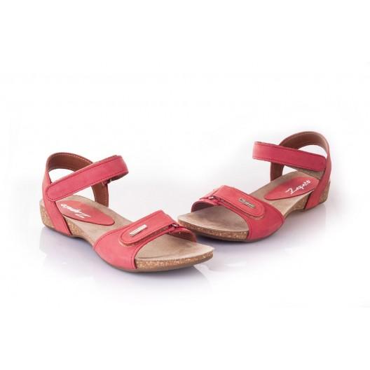 Dámske sandále červenej farby s elegantným zapínaním na suchý zips