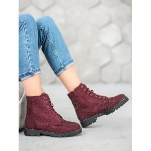 Dámske členkové topánky bordovej farby s kamienkami