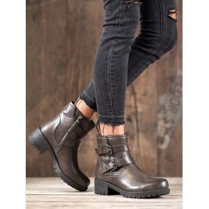 Tmavo sivé členkové topánky na zimu s ozdobnými prackami