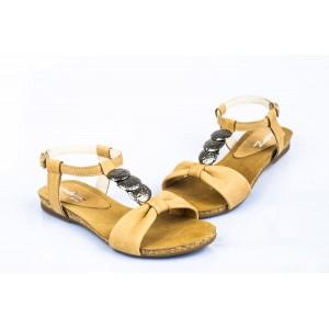 Dámske sandále pieskovej farby s otvorenou spičkou