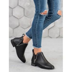 Elegantná čierna členková obuv s ozdobným zipsom