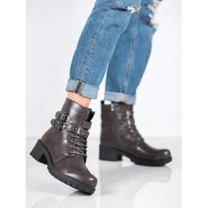 Trendové dámske jesenné topánky tmavo sivej farby