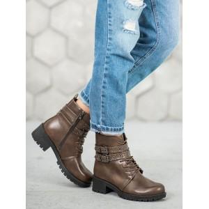 Hnedé jesenné topánky s ozdobnými prackami pre dámy