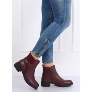 Bordové kotníkové topánky na nízkom podpätku