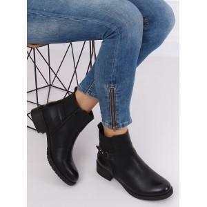 Čierne kotníkové čižmy na nízkom opätku s elastickou vložkou