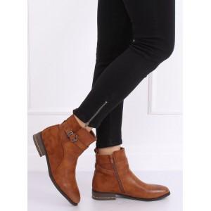 Hnedé dámske členkové topánky zateplené jemnou kožušinou