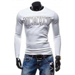 Pánske tričko s dlhým rukávom bielej farby s nápisom na hrudi