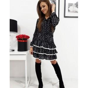 Dámske čierne bodkované šaty nad kolená BLANCHE