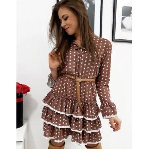 Krásne dámske hnedé šaty s bodkami romantického designu