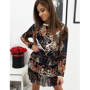 Štýlové dámske mini šaty s nariasením a módnym leopardím vzorom