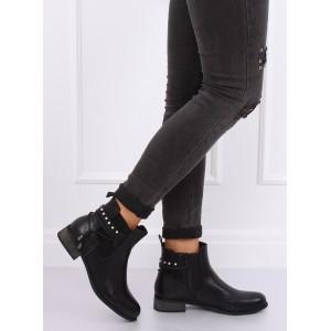 Členkové topánky s jemnou aplikáciou čiernej farby