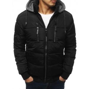 Čierna zimná bunda s odnímateľnou kapucňou