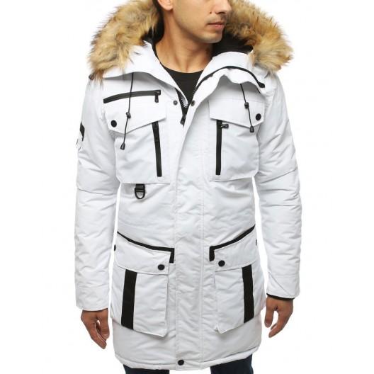 Biela dlhá pánska zimná bunda s kožušinou