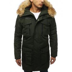 Pánska zimná dlhá bunda v zelenej farbe