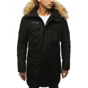 Moderná pánska dlhá zimná bunda s kožušinou v čiernej farbe