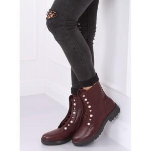 Dámske kotníkové topánky v bordovej farbe