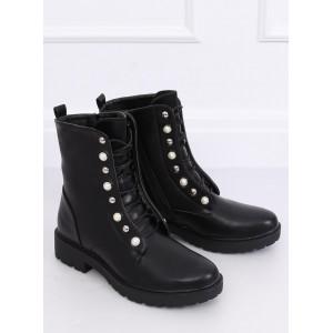 Dámske kotníkové topánky na šnúrovanie v čiernej farbe