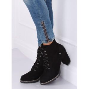 Čierne dámske kotníkové topánky na viazanie