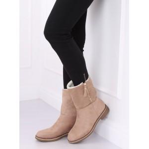 Zateplené dámske zimné topánky v béžovej farbe