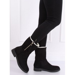 Čierne dámske zateplené topánky na zimu