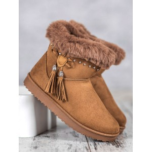 Dámska obuv s kožušinou v béžovej farbe