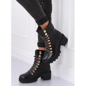 Dámske členkové topánky na viazanie v čiernej farbe