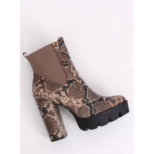 Dámske zateplené kotníkové topánky s hadím motívom