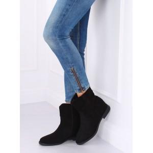 Dámske semišové členkové topánky v čiernej farbe