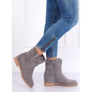 Topánky v sivej farbe na zips pre dámy