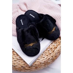 Čierne papuče s fúzikmi pre dámy