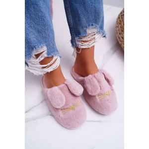 Dámske papuče v ružovej farbe so psími uškami
