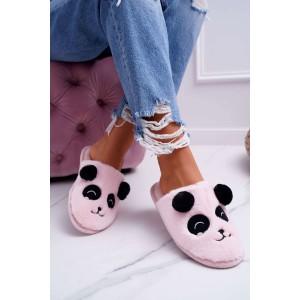 Dámske papuče v ružovej farbe s motívom pandy