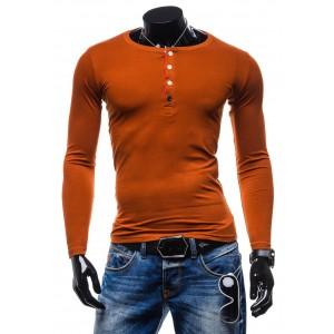 Pánsky bavlnený nátelník oranžovej farby s gombíkmi