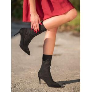 Ponožkové dámske členkové topánky v čiernej farbe