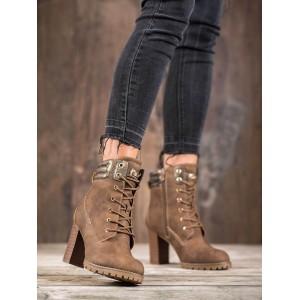 Vysoké dámske zimné topánky na šnúrovanie