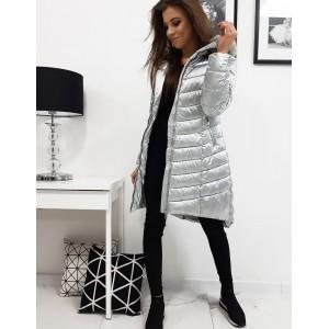 Strieborná dámska zimná bunda s prešívaním