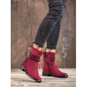 Bordové dámske semišové topánky so šnúrkou