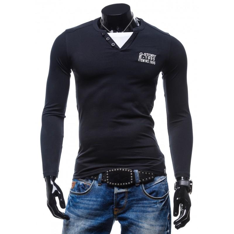 70943286a Predchádzajúci. Čierne pánske tričko s dlhým rukávom ...