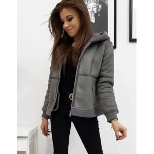 Sivá dámska zimná bunda so zateplením