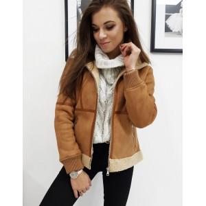 Dámska zateplená zimná bunda v hnedej farbe