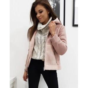 Dámska zimná bunda s kapucňou v ružovej farbe