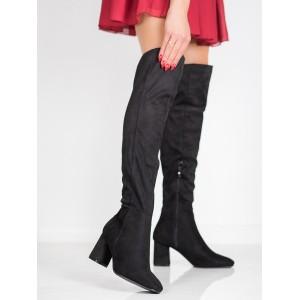 Zateplené dámske čižmy v čiernej farbe