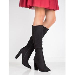 Dámske čierne čižmy pod kolená