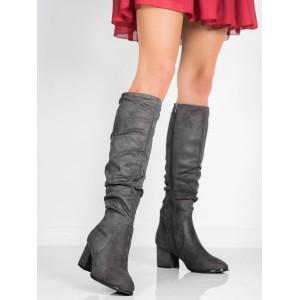 Sivé dámske čižmy pod kolená