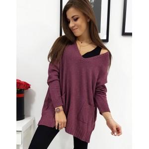 Lacný dámsky sveter v bordovej farbe