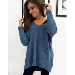 Pohodlný dámsky sveter v modrej farbe